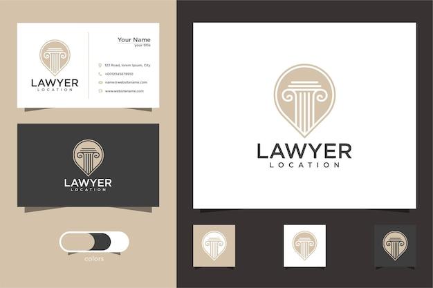 Logotipo da localização do advogado e modelo de design de cartão de visita