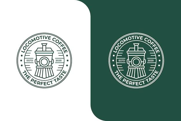Logotipo da locomotiva do trem para café