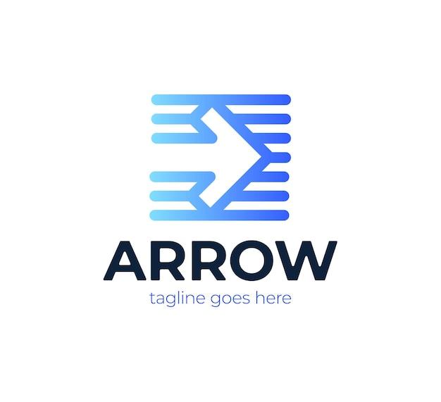 Logotipo da logística de transporte da express arrow avançando para entrega de correio ou serviço de transporte e envio.