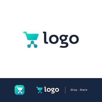 Logotipo da loja com carrinho e símbolo de compartilhamento em estilo simples e plana