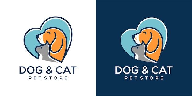 Logotipo da loja de animais de estimação cachorro-gato