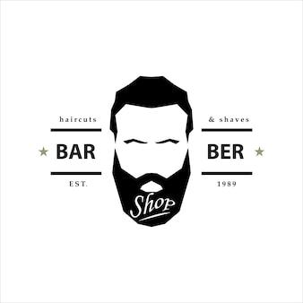 Logotipo da loja de barbeiro. emblema de hipster.
