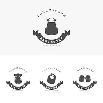 Logotipo da loja de bebês símbolo de ilustração vetorial modelo com roupas infantis