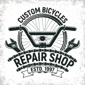 Logotipo da loja de consertos de bicicletas vintage, selo de impressão grange, emblema de tipografia criativa,