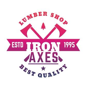 Logotipo da loja de madeira, emblema com machados em branco, ilustração vetorial