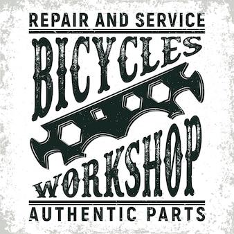 Logotipo da loja de reparos de bicicletas vintage, selo de impressão grange, emblema de tipografia criativa,