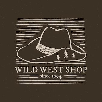 Logotipo da loja do velho oeste em fundo cinza escuro com ilustração de chapéu de cowboy