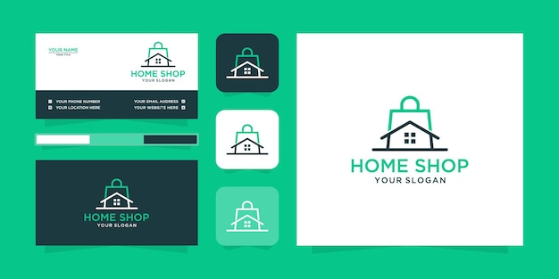 Logotipo da loja doméstica minimalista e cartão de visita