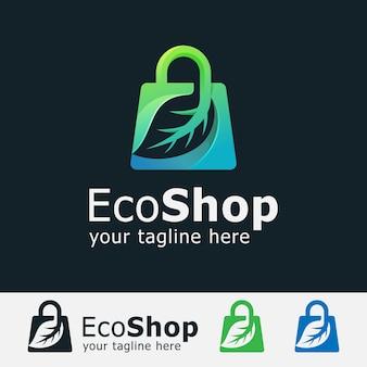 Logotipo da loja eco. bolsa com logotipo da folha logotipo gradiente Vetor Premium