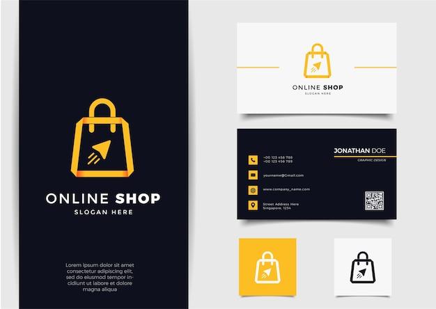 Logotipo da loja online com estilo de seta de arte de linha gradiente e modelo de design de cartão de visita