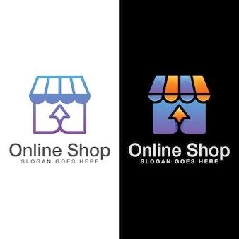Logotipo da loja online, design do logotipo do market commerce