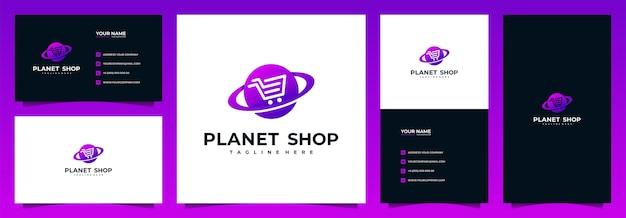 Logotipo da loja online e cartão de visita, com conceito de planeta e carrinho