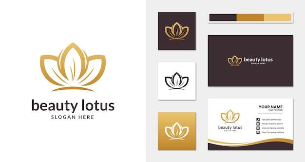 Logotipo da lótus da beleza com estilo elegante minimalista e modelo de cartão de visita