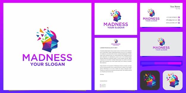 Logotipo da loucura ou logotipo do cérebro ou logotipo da cabeça com cartão de visita