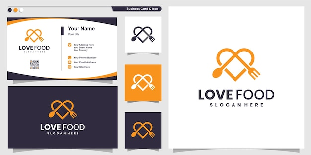 Logotipo da love food com estilo de arte de linha moderna e modelo de design de cartão de visita