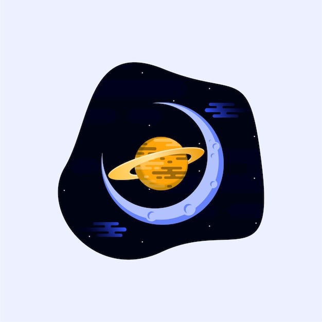Logotipo da lua do planeta