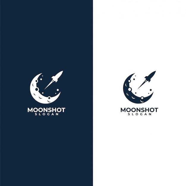 Logotipo da lua e foguete