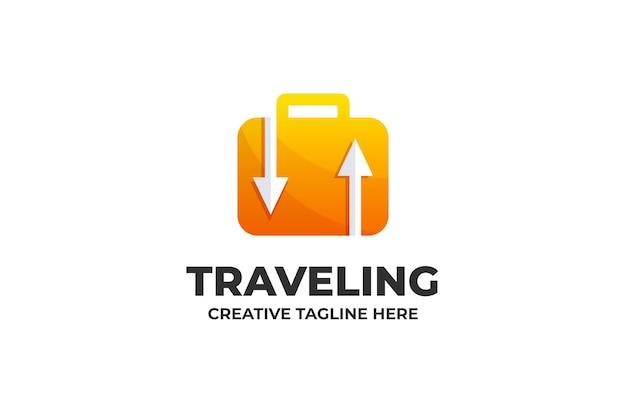 Logotipo da mala de viagem com gradiente de viagem