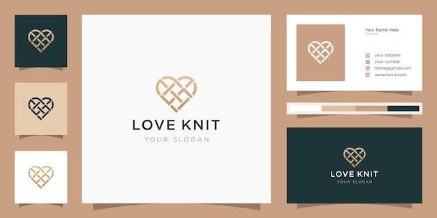 Logotipo da malha de amor e modelo de cartão de visita
