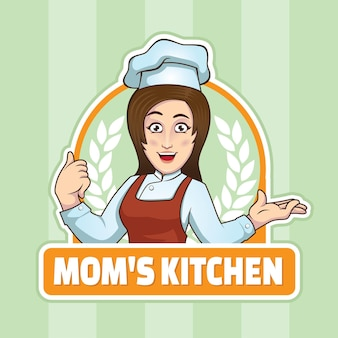 Logotipo da mamãe cozinha mulher chef