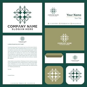 Logotipo da mandala chave logotipo e cartão de visita
