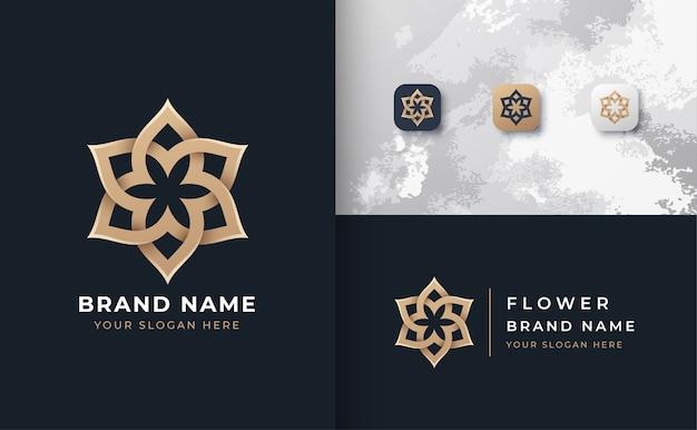 Logotipo da mandala de flor dourada com 3 ícones