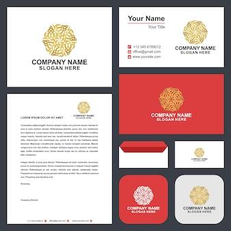 Logotipo da mandala de ouro e cartão de visita