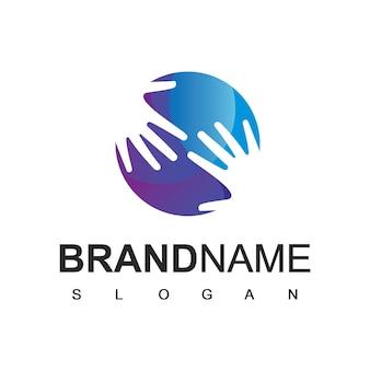 Logotipo da mão, ajudando pessoas e símbolo da sociedade
