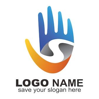 Logotipo da mão da letra s