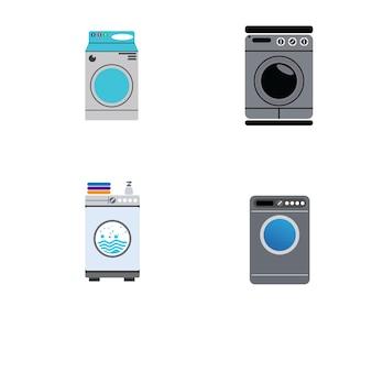 Logotipo da máquina de lavagem e vetor de símbolo