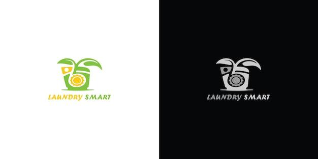 Logotipo da máquina de lavar roupa com círculo para a empresa de lavanderia