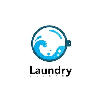 Logotipo da máquina de lavar roupa com círculo para o ícone da sua empresa de lavanderia