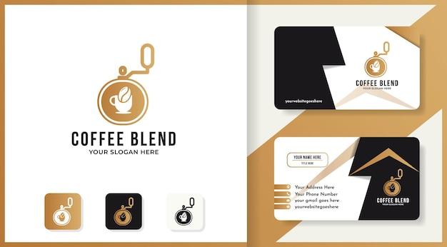 Logotipo da máquina liquidificadora de café e design de cartão de visita