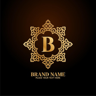 Logotipo da marca de luxo letra b elegante