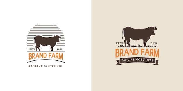Logotipo da marca fazenda com vaca