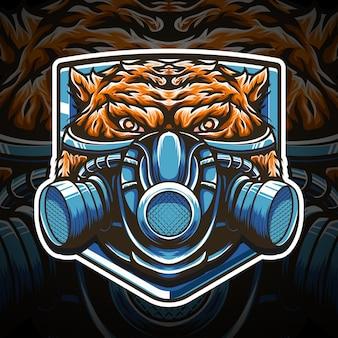 Logotipo da máscara de gás tigre esport e ícone de personagem de design de camiseta