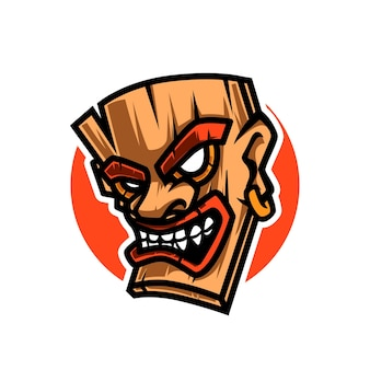 Logotipo da máscara de mascote de madeira