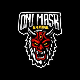 Logotipo da máscara oni mascote esport gaming