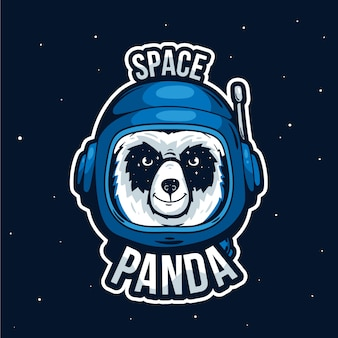 Logotipo da mascote com panda do espaço