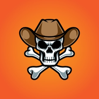 Logotipo da mascote cowboy cross bone