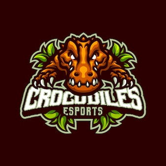 Logotipo da mascote crocodiles para esporte e equipe de esportes