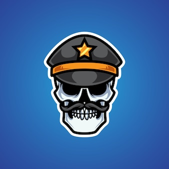 Logotipo da mascote da cabeça do crânio da polícia