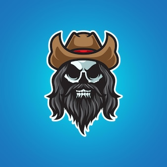 Logotipo da mascote da cabeça do crânio de cowboy