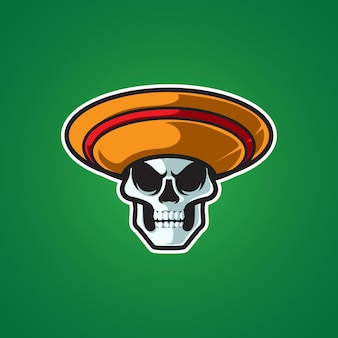 Logotipo da mascote da cabeça do crânio mexicano