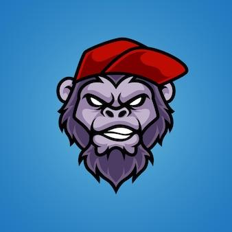 Logotipo da mascote da cabeça do macaco funky