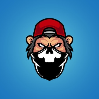 Logotipo da mascote da cabeça do macaco gangster