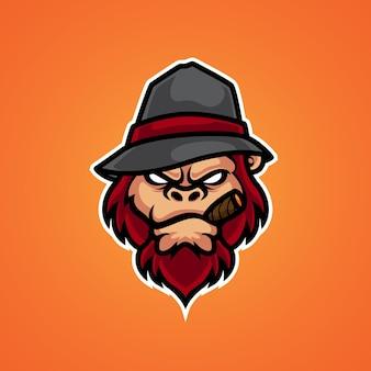 Logotipo da mascote da cabeça do macaco mafia