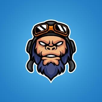 Logotipo da mascote da cabeça do monkey pilot