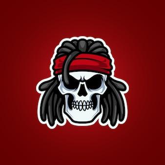 Logotipo da mascote da cabeça do rocker skull