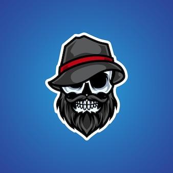 Logotipo da mascote da cabeça do skull mafia